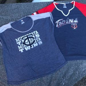 2 XXL Women's Minnesota Twins t shirt lot Baseball